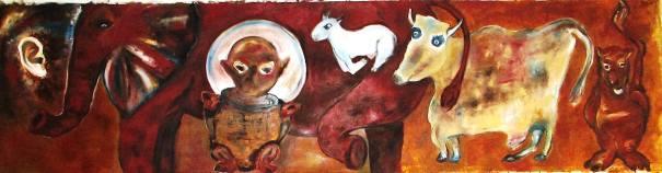 Barrišnikov & il Cabaret Léger - Olio su carta - 60 x 250 cm