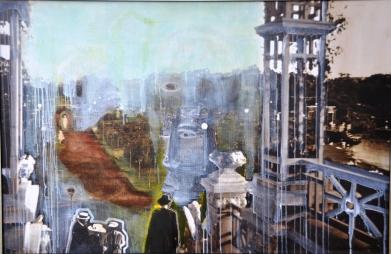 2008_Encuentro en Rosedal_oleo sobre impresion sobre tela_ 70x90 cm