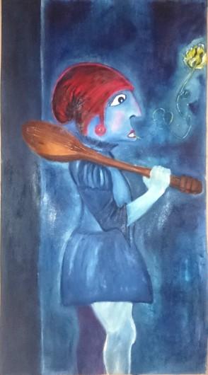 Jonas il menestrello (corpo) - olio su tela di lino - cm 134 x 74