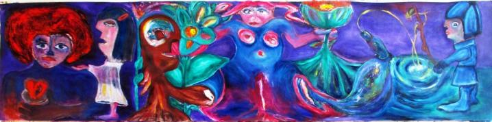 Il Rabdomante, la Primavera, l'Alberuomo e Giulietta - olio su carta fodera - cm 56 x 231