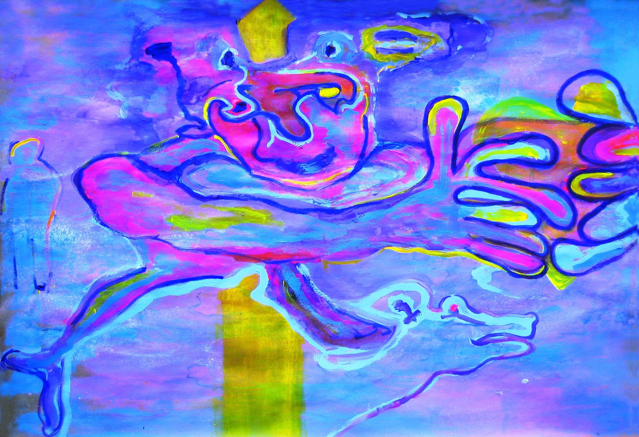 Cuor contento_Tecnica mista su tavola_ cma 60 x 85
