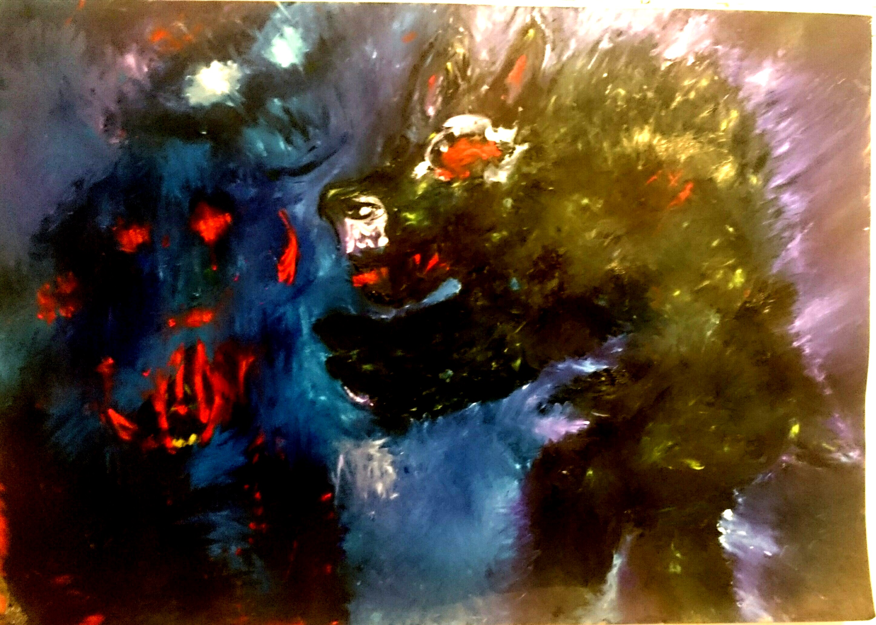 Attento Lupo! cm 120 x 80 olio su papel misionero